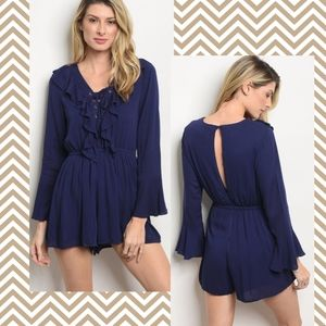 Pants - Navy Long Sleeve Lace Up Cut Out Back Romper
